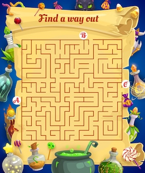Kinderlabyrinth-vektor-labyrinth mit halloween-leckereien