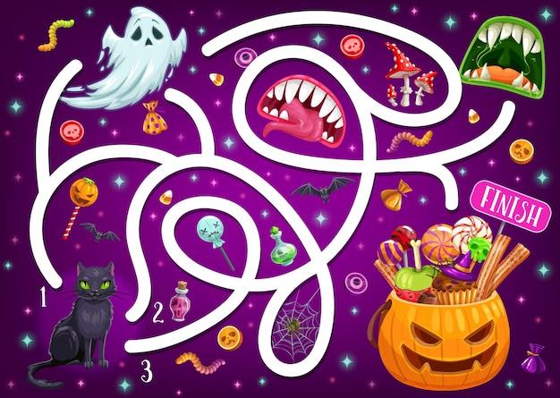 Kinderlabyrinthspiel mit halloween-charakteren und monstermündern. vektor-labyrinth-puzzle finden sie das richtige brettspiel. aufgabe mit verworrenem pfad, kürbis, geist. kindererziehungsrätsel, vorschulaktivität