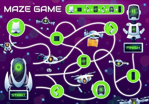 Kinderlabyrinthspiel mit reparaturroboter-vektorlabyrinth