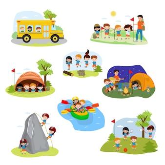 Kinderlagervektor-kindercampercharaktere und campingaktivität auf sommerferienillustrationssatz des kindes, das im zelt nahe lagerfeuer spielt