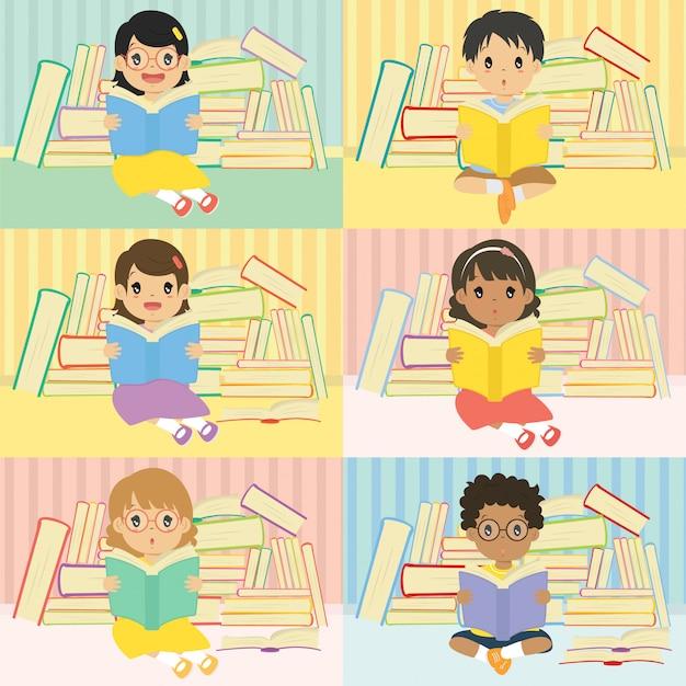 Kinderlesebücher mit stapel des buchhintergrundvektors