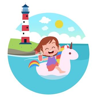 Kindermädchen, das auf der strandillustration spielt