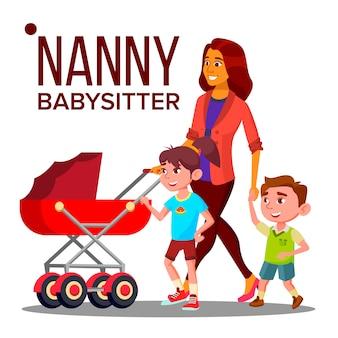 Kindermädchen frau. babysitter nanny mit kindern. pflege familien design