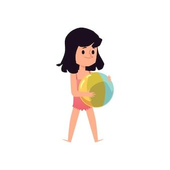 Kindermädchencharakter im badeanzug, der ball hält