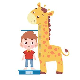 Kindermaßhöhen-vektorillustration lokalisiert