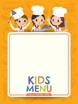 Kindermenü-jungekochkinder mit leerer menübrettkarikatur