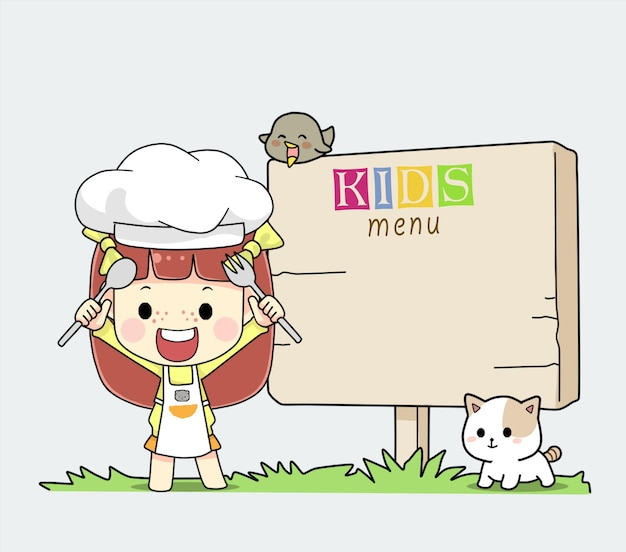 Kindermenü-kochkinder des kleinen mädchens mit leerer menübrettkarikaturillustration