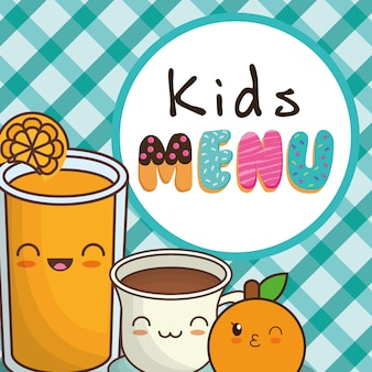 Kindermenü orangensaft schokoladenbecher