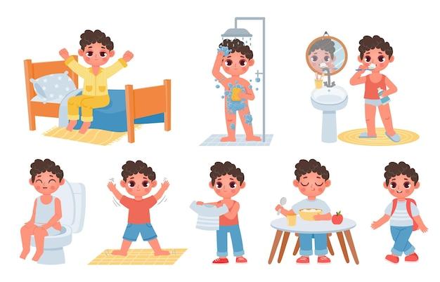 Kindermorgen-tagesablauf mit süßem cartoon-jungen-charakter. kind aufwachen, hygiene machen, zähne putzen und auf dem töpfchen sitzen. tagesplan-vektor-set