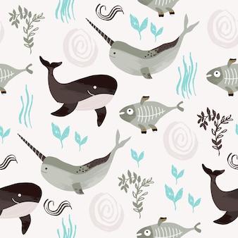 Kindernahtloses muster mit walfischnarwal