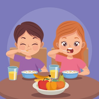 Kinderpaar beim frühstück