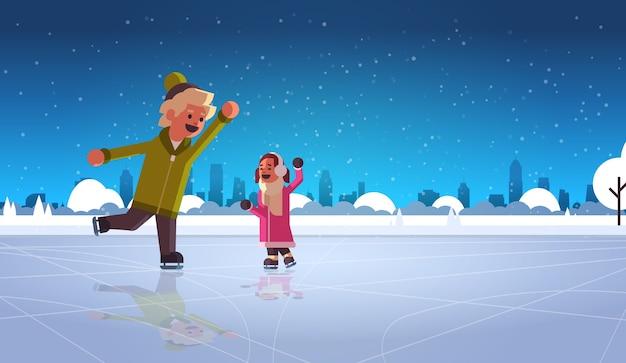 Kinderpaar eislaufen auf eisbahn wintersport aktivität erholung an feiertagen konzept kleines mädchen und junge verbringen zeit zusammen schneefall stadtbild in voller länge horizontale vektor-illustration