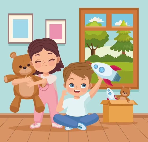 Kinderpaar im spielzimmer