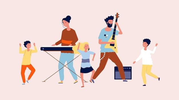 Kinderparty. kinder tanzen in der disco. musiker und lustige typen, illustration des musikfestivals.
