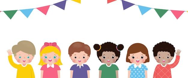 Kinderparty lokalisiert auf weißem hintergrundvektorillustrationssatz gruppe glückliche kinder flat