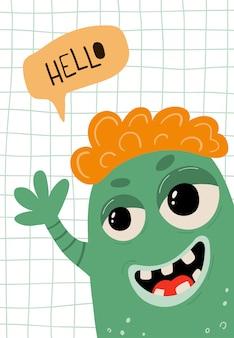 Kinderplakat mit lustigem monster im karikaturstil. nettes konzept mit schriftzug hallo für kinder drucken.