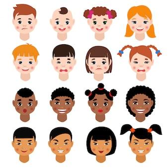 Kinderporträtvektorkindercharaktermädchen oder -jungengesicht mit frisur und karikaturperson mit verschiedenen hauttonillustrationssatz von kindergesichtsmerkmalen lokalisiert auf leerraum