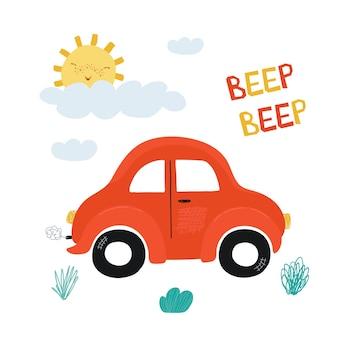 Kinderposter mit rotem miniauto und schriftzug beep im cartoon-stil. niedliche illustrationen für kinderzimmergestaltung, postkarten, drucke für kleidung. vektor