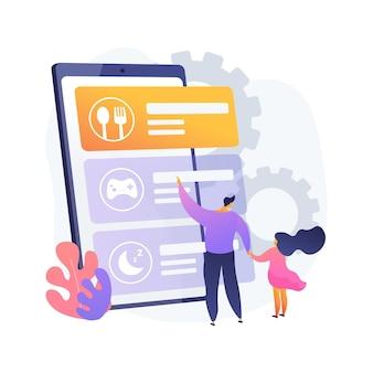 Kinderroutine app abstrakte konzeptillustration. mobile routine-app für kinder, neugeborenenanwendung, schlafenszeitsoftware für kleinkinder, kinderplanungslösung, aktivitätsverfolgung
