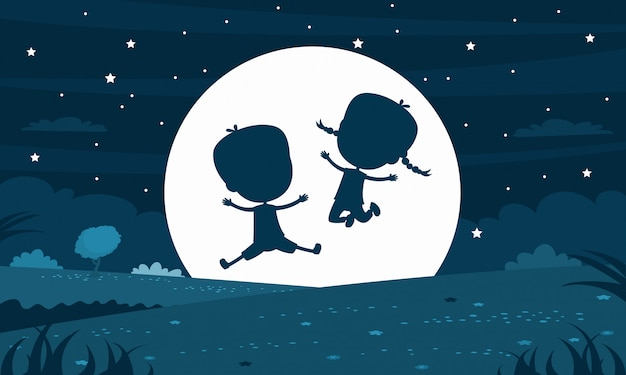Kinderschattenbild nachts moony