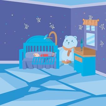 Kinderschlafzimmer-innenkinder-art-hintergrund
