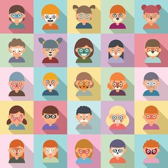 Kinderschminken icons set flachen vektor. kinder schminken. kinderschminken zum geburtstag