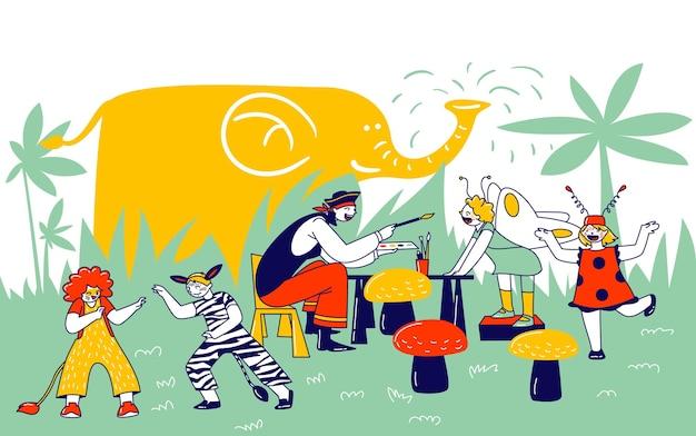 Kinderschminken-konzept. animator-charakter mit piraten-kostümfarbe auf kindergesichtern während der geburtstagsfeier, freizeitpark-erholung, karneval. lineare menschen-vektor-illustration
