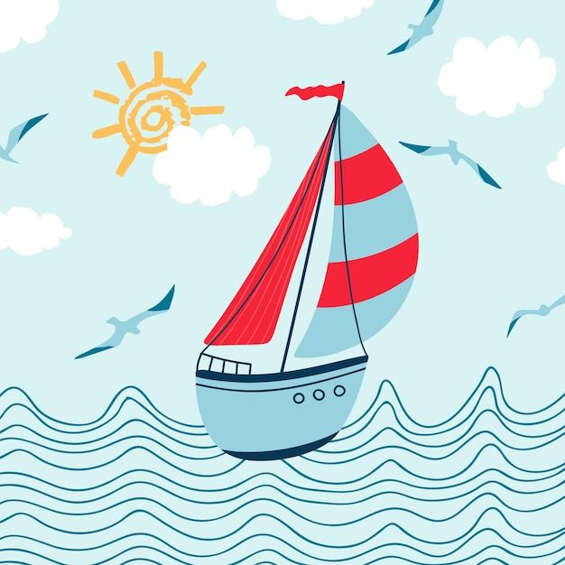 Kinderseeposter mit meereslandschaft, segelboot, möwe und handgeschriebenem schriftzug sommer im cartoon-stil. nettes konzept für kinderdruck. illustration für die designpostkarte, textilien, bekleidung. vektor