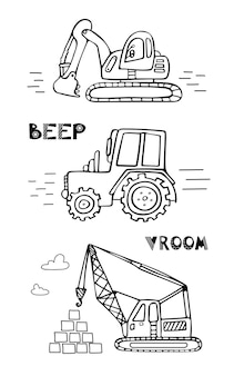 Kinderset baumaschinen bagger traktorkran für jungen im skandinavischen stil