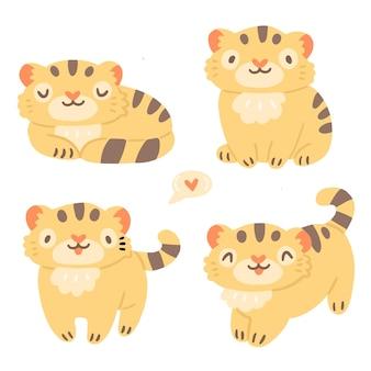Kinderset mit niedlichen kleinen tigertieren im cartoon-stil einzeln auf hintergrund