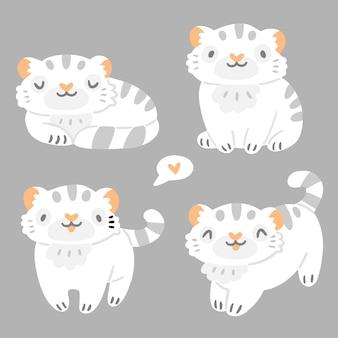 Kinderset mit süßen kleinen weißen tigertieren im cartoon-stil