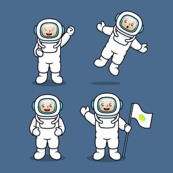 Kinderset mit weißem astronauten-raumanzug-kostümdesign