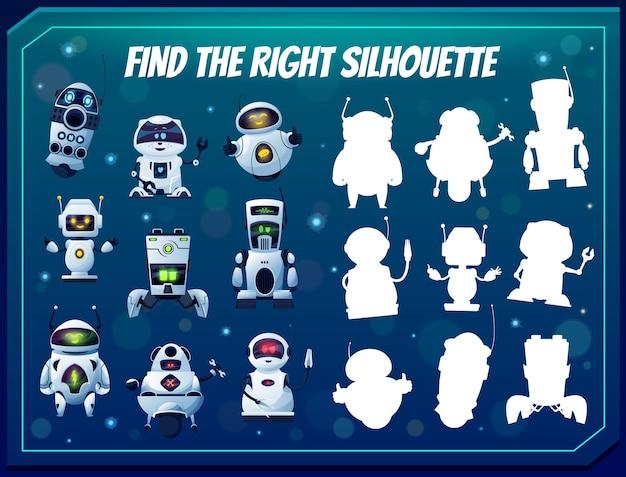Kinderspiel finde die richtige robotersilhouette, shadow match