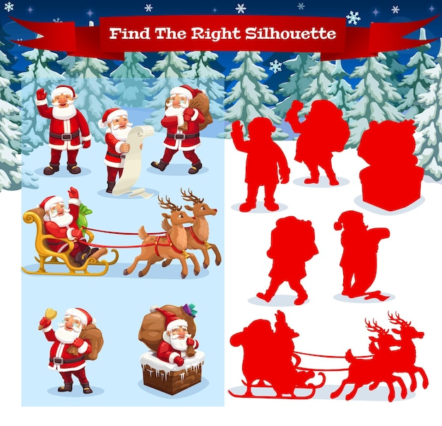 Kinderspiel finden sie die richtige silhouette-vektor-cartoon-vorlage. weihnachtsmann-charakter im wald und lustige hirsche mit schlitten auf verschneiter landschaft mit tannen. bildungsrätselkarte für kinder