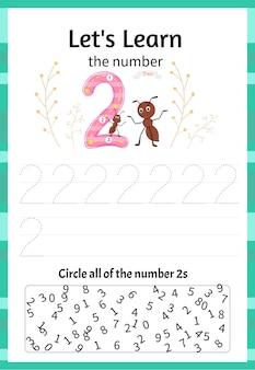 Kinderspiel lernen wir die nummer zwei. cartoon-stil. vektor-illustration.