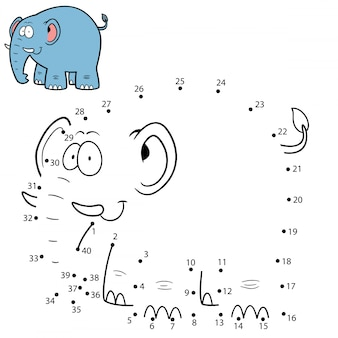 Kinderspiel punkt für punkt elefant