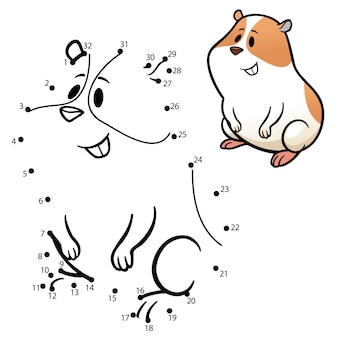 Kinderspiel punkt für punkt hamster