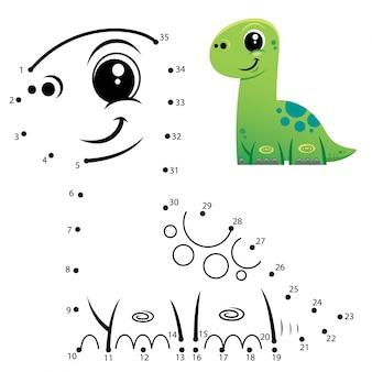 Kinderspiel punkt zu punkt dinosaurier