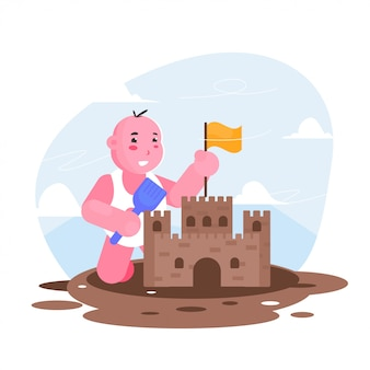 Kinderspiel sand machen casttle flache illustration