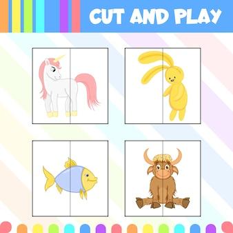 Kinderspiel schneiden und spielen mit bildern von niedlichen tieren