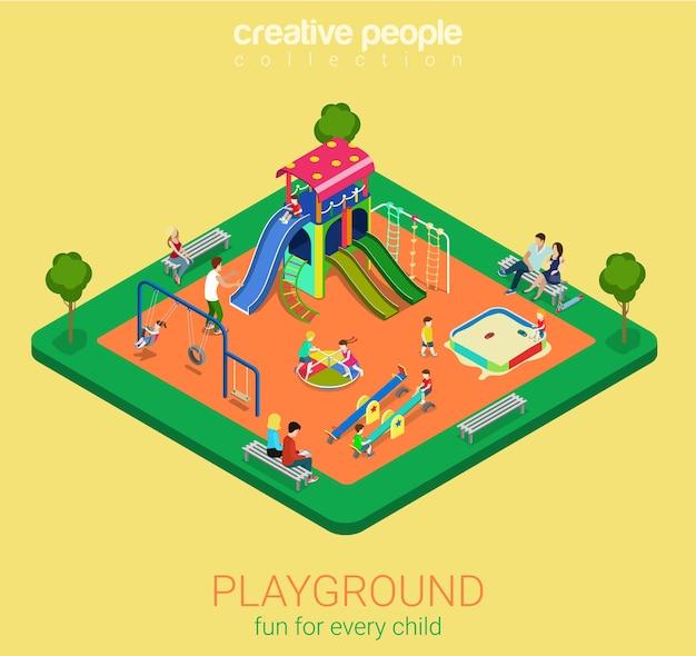 Kinderspielplatz flach d isometrische infografiken konzept