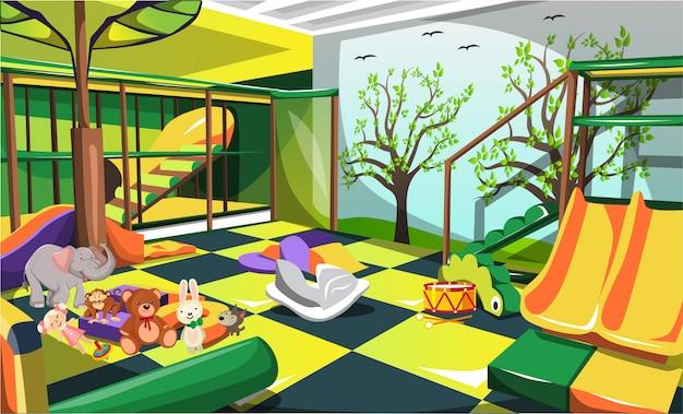Kinderspielplatz für kinder mit tierpuppen, rutschen und treppen