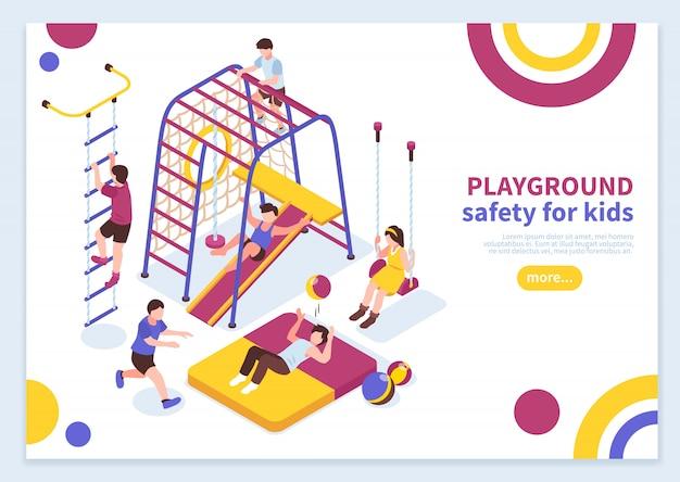 Kinderspielplatz isometrische konzept
