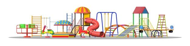 Kinderspielplatz kindergarten set. städtisches kindervergnügen.