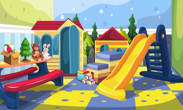 Kinderspielplatz mit rutsche, spielzeughaus, spielzeugkiste, würfelspielen, teddybär und kaninchenpuppen im farbenfrohen stil