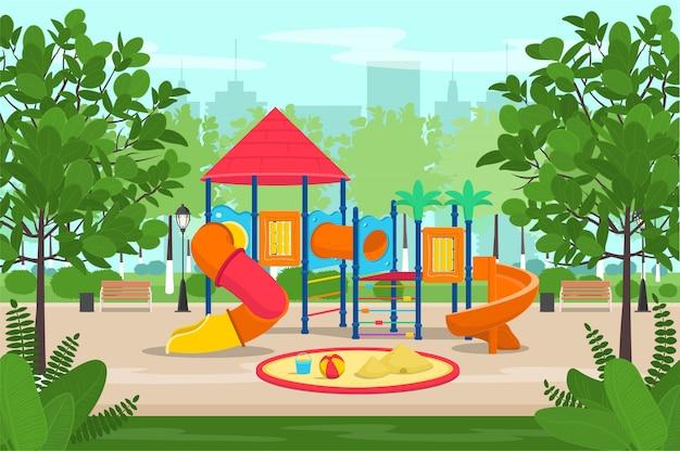 Kinderspielplatz mit rutschen und u-bahn im park. karikaturvektorillustration.