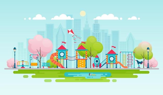 Kinderspielplatz mit spielgeräten stadtpark mit außendekor