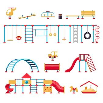 Kinderspielplatz. satz spielgeräteelemente. konzept des stadtparks. vektor-illustration