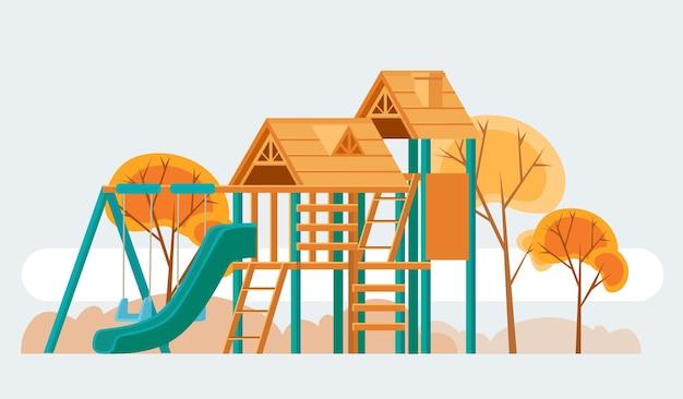 Kinderspielplatzkarikaturillustration