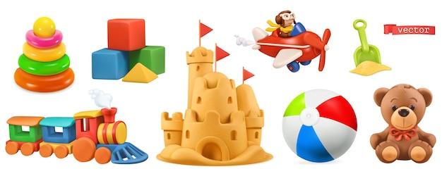 Kinderspielzeug 3d gesetzt
